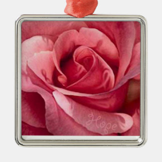Breast Cancer Rose Ornament. Give Hope. Metal Ornament