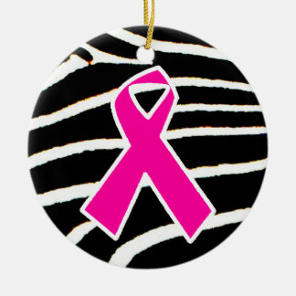 Breast Cancer Round Ceramic Ornament