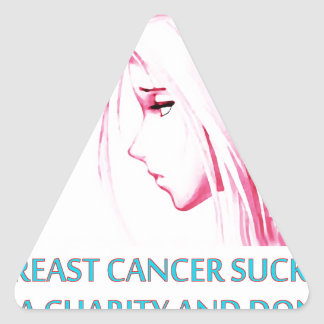 Breast Cancer Sucks Sad Anime Face Triangle Sticker