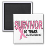BREAST CANCER SURVIVOR 10 Years & Counting Square Magnet