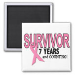 BREAST CANCER SURVIVOR 7 Years & Counting Square Magnet