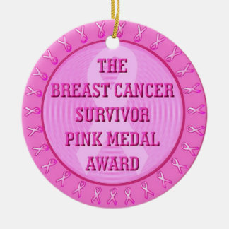 Breast Cancer Survivor Award Round Ceramic Ornament