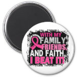 Breast Cancer Survivor Family Friends Faith 2 Inch Round Magnet
