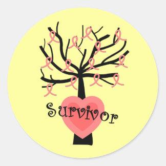 Breast Cancer Survivor Gifts--Unique Tree Design Round Sticker