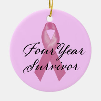 Breast Cancer Survivor Ornament Four Year