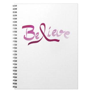 Breast Cancer Survivor Pink Ribbon Believe Gifts Notebook