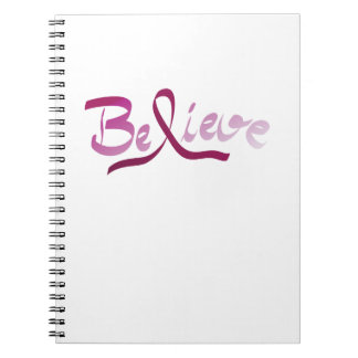 Breast Cancer Survivor Pink Ribbon Believe Gifts Notebooks