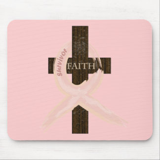 Breast Cancer Survivor Pink Ribbon-Cross of Faith Mouse Pad