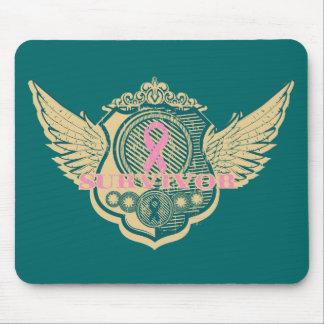 Breast Cancer Survivor Vintage Winged Mouse Pad
