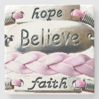 Breast Cancer Survivors Charms Marble Coaster