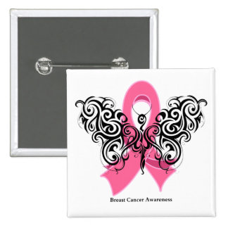 Breast Cancer Tribal Butterfly Ribbon Button