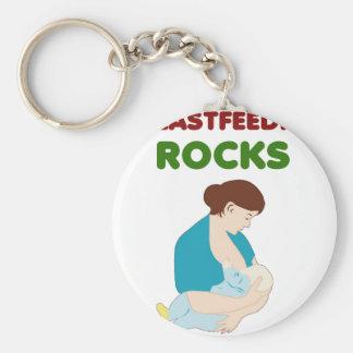 breast feeding mom rocks basic round button keychain