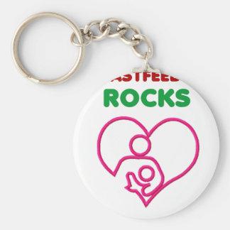 breast feeding rocks, mom with baby basic round button keychain