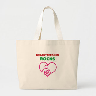 breast feeding rocks, mom with baby large tote bag