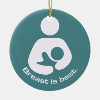 Breast Is Best - Teal Round Ceramic Ornament