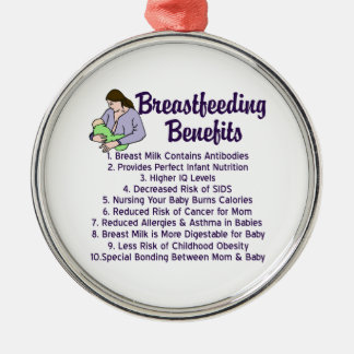 Breastfeeding Benefits Metal Ornament