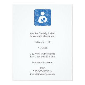 "Breastfeeding Icon Letterpress Style Texture 4.25"" X 5.5"" Invitation Card"