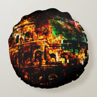 Breathe Again Dreams of Roman Patterns Past Round Pillow