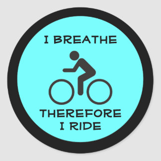 breathe and bike classic round sticker