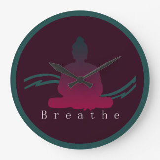 """Breathe"" Beautiful Buddha Wall Clock. Large Clock"