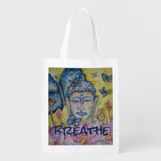 Breathe Buddha Butterfly Art Reusable Grocery Bag