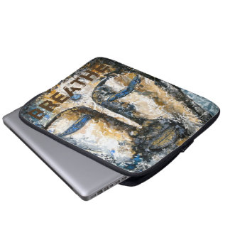 Breathe Buddha Watercolor Art Laptop Sleeve