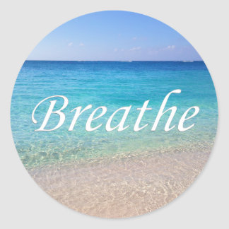 Breathe Cayman Islands Relaxing Beach Reminder Classic Round Sticker