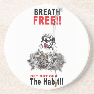 Breathe Free - STOP SMOKING Coaster