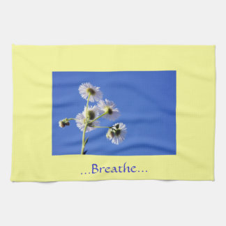 Breathe Quote Yellow/Blue Dish Towels