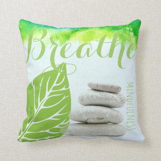 BREATHE Stone Piles Mindfulness Decor Gift Throw Pillow