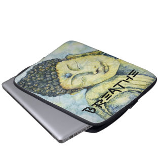 Breathe Zen Buddha Watercolor Art Laptop Sleeve