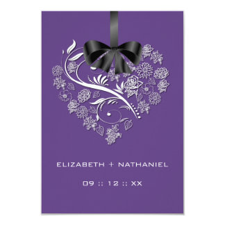 Breathless Heart RSVP Card - plum
