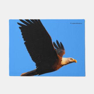Breathtaking Bald Eagle in Winter Sunset Flight Doormat