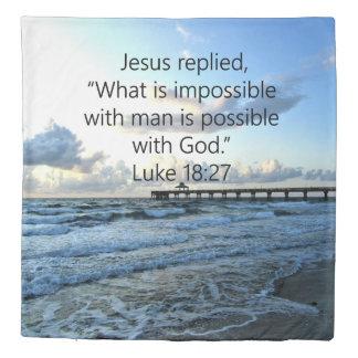 BREATHTAKING LUKE 18:27 OCEAN PHOTO DESIGN DUVET COVER