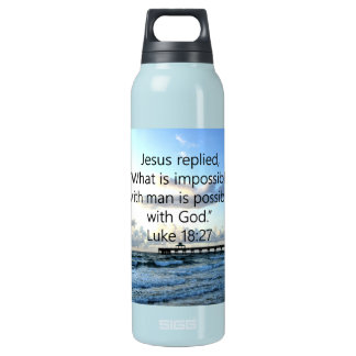 BREATHTAKING LUKE 18:27 OCEAN PHOTO DESIGN INSULATED WATER BOTTLE