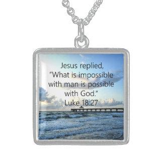 BREATHTAKING LUKE 18:27 OCEAN PHOTO DESIGN STERLING SILVER NECKLACE