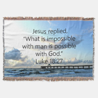 BREATHTAKING LUKE 18:27 OCEAN PHOTO DESIGN THROW BLANKET
