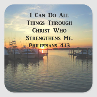 BREATHTAKING PHILIPPIANS 4:13 SCRIPTURE SQUARE STICKER