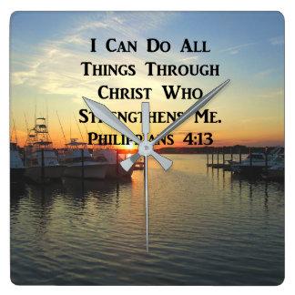 BREATHTAKING PHILIPPIANS 4:13 SCRIPTURE SQUARE WALL CLOCK