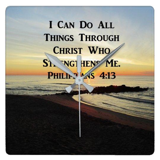 BREATHTAKING PHILIPPIANS 4:13 SCRIPTURE VERSE SQUARE WALL CLOCK