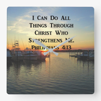 BREATHTAKING PHILIPPIANS 4:13 SCRIPTURE WALL CLOCKS