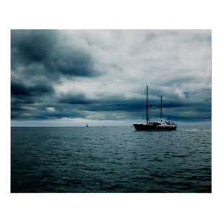 Breathtaking Ship Sailing on Stormy Seas Dramatic Poster