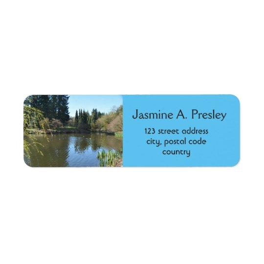 Breathtaking spring garden water pond address return address label