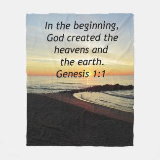 BREATHTAKING SUNRISE ON THE OCEAN GENESIS 1:1 FLEECE BLANKET