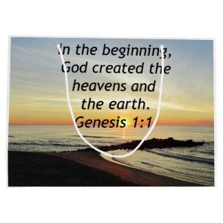 BREATHTAKING SUNRISE ON THE OCEAN GENESIS 1:1 LARGE GIFT BAG