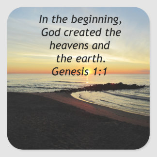 BREATHTAKING SUNRISE ON THE OCEAN GENESIS 1:1 SQUARE STICKER