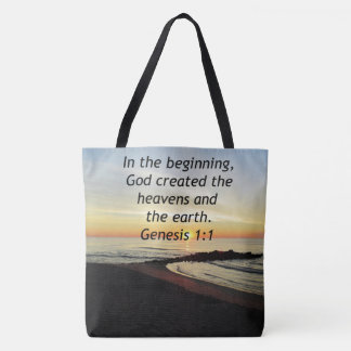 BREATHTAKING SUNRISE ON THE OCEAN GENESIS 1:1 TOTE BAG