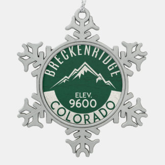 Breckenridge Colorado Skiing Snowflake Pewter Christmas Ornament