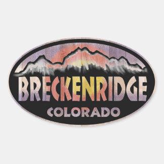 Breckenridge Colorado wooden flag oval stickers