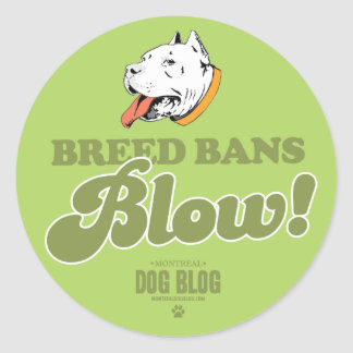 Breed Bans Blow (green) Classic Round Sticker
